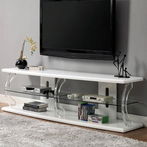 "Ernst White/Clear 60"" TV Stand"