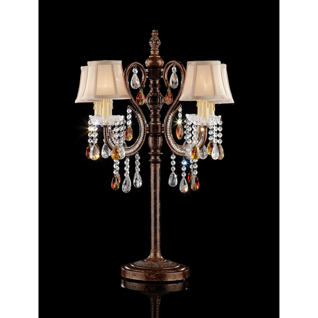 Juliet Golden Brown Table Lamp, Hanging Crystal