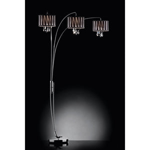 Arya Black/Chrome Arch Lamp, Hanging Crystal