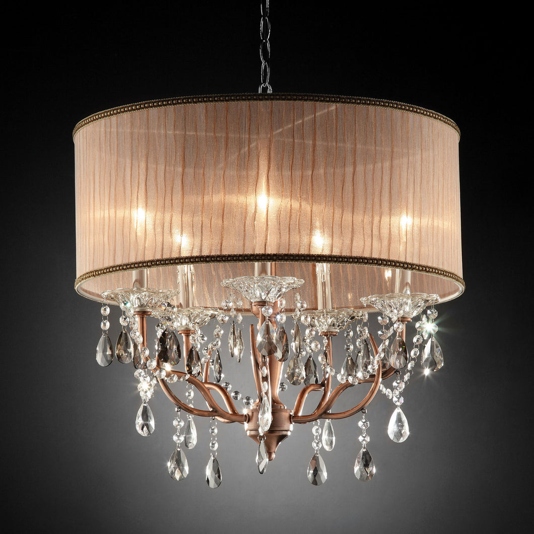 Cecelia Chrome Ceiling Lamp, Hanging Crystal