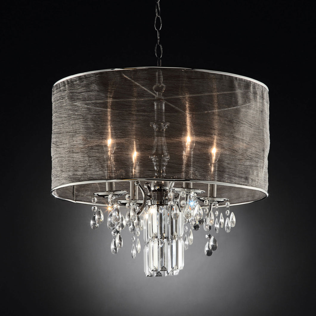 Gina Black/Silver Ceiling Lamp, Hanging Crystal