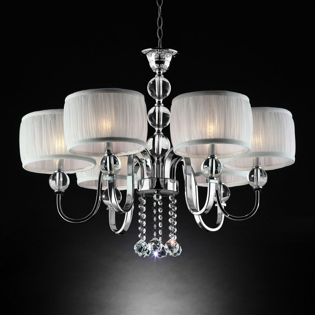 Chloe White/Chrome Ceiling Lamp, Hanging Crystal