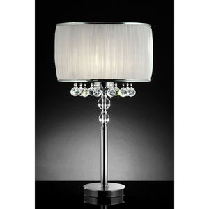 Chloe White/Chrome Table Lamp, Hanging Crystal