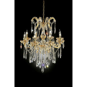 "Christiana Gold 35""H Ceiling Lamp Gold, Hanging Crystal"