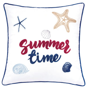 "Emmie White 20"" X 20"" Pillow, Summer Time"