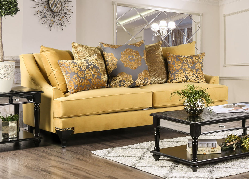 Viscontti Gold/Gray Sofa, Gold