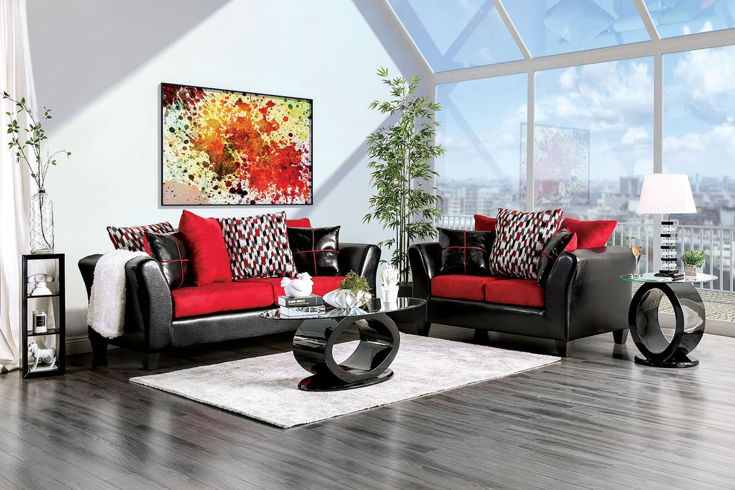 Braelyn Black/Red Sofa + Love Seat