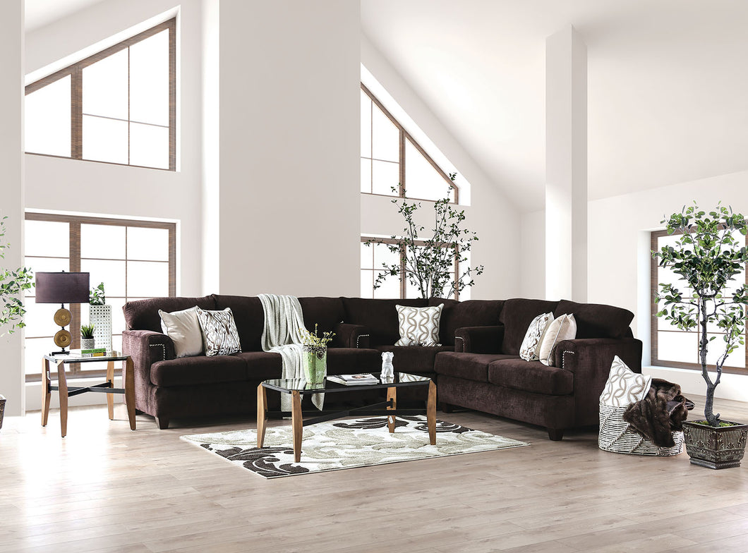 Brynlee Chocolate Sectional + 6 Pillows