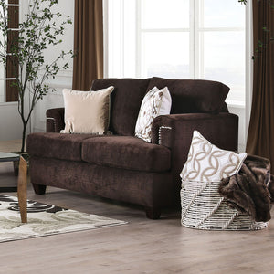 Brynlee Chocolate Love Seat + 4 Pillows