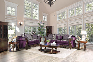 Emilia Purple/Silver Sofa + Love Seat