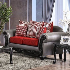 Midleton Gray/Red/Black Love Seat