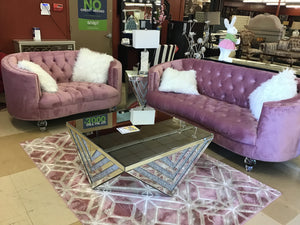 Sofa and loveseat upholstered