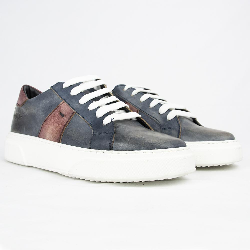 RAF80174 SNEAKERS IN DARK BLUE & HABANERO.