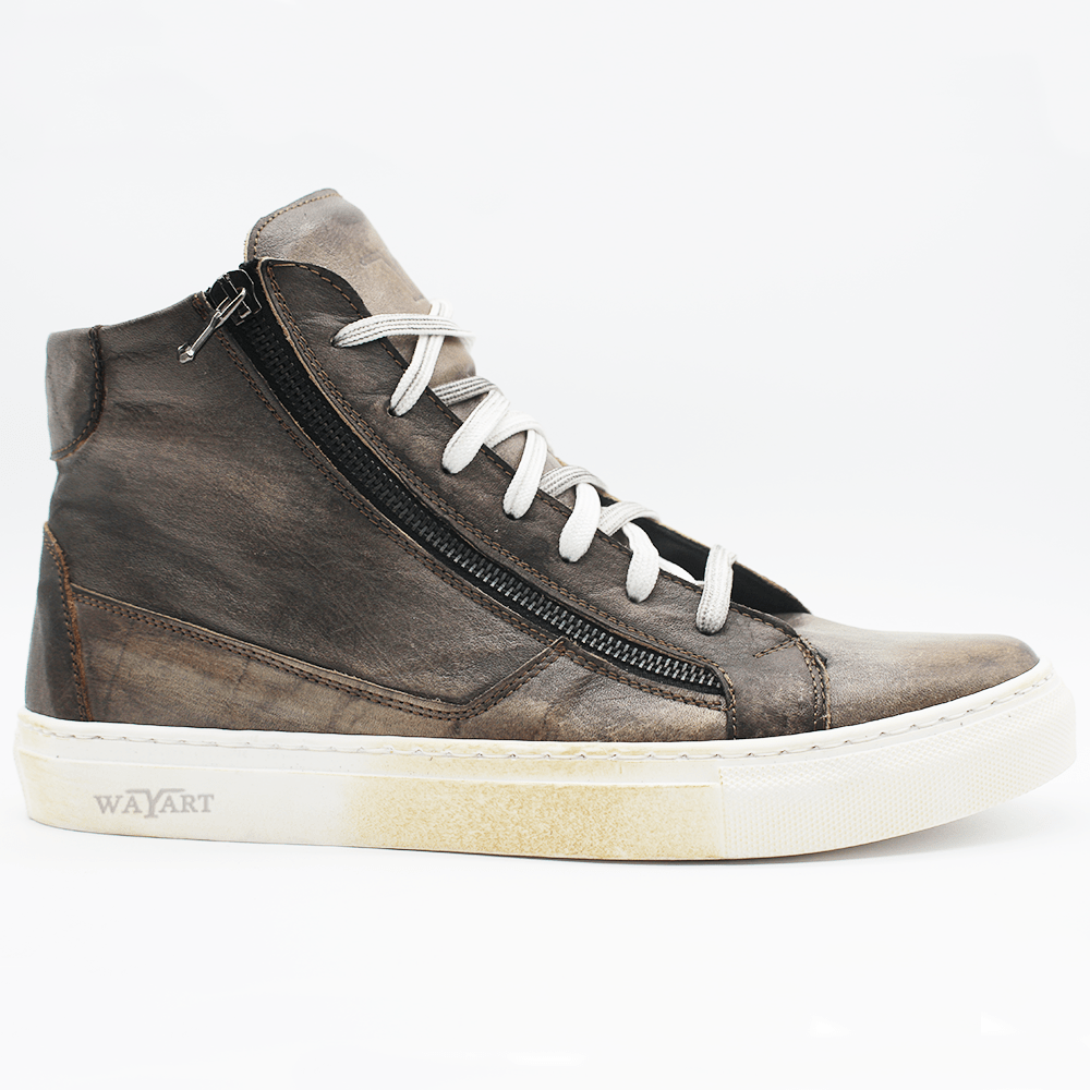 RAF80171 Grey washed sneaker+ double zip - WAYART