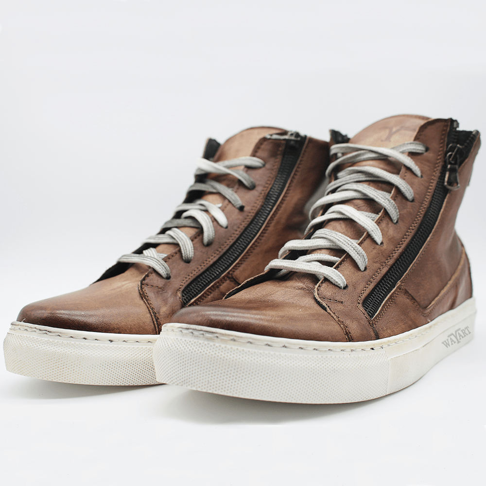 RAF80171 Brown washed sneaker+ double zip.