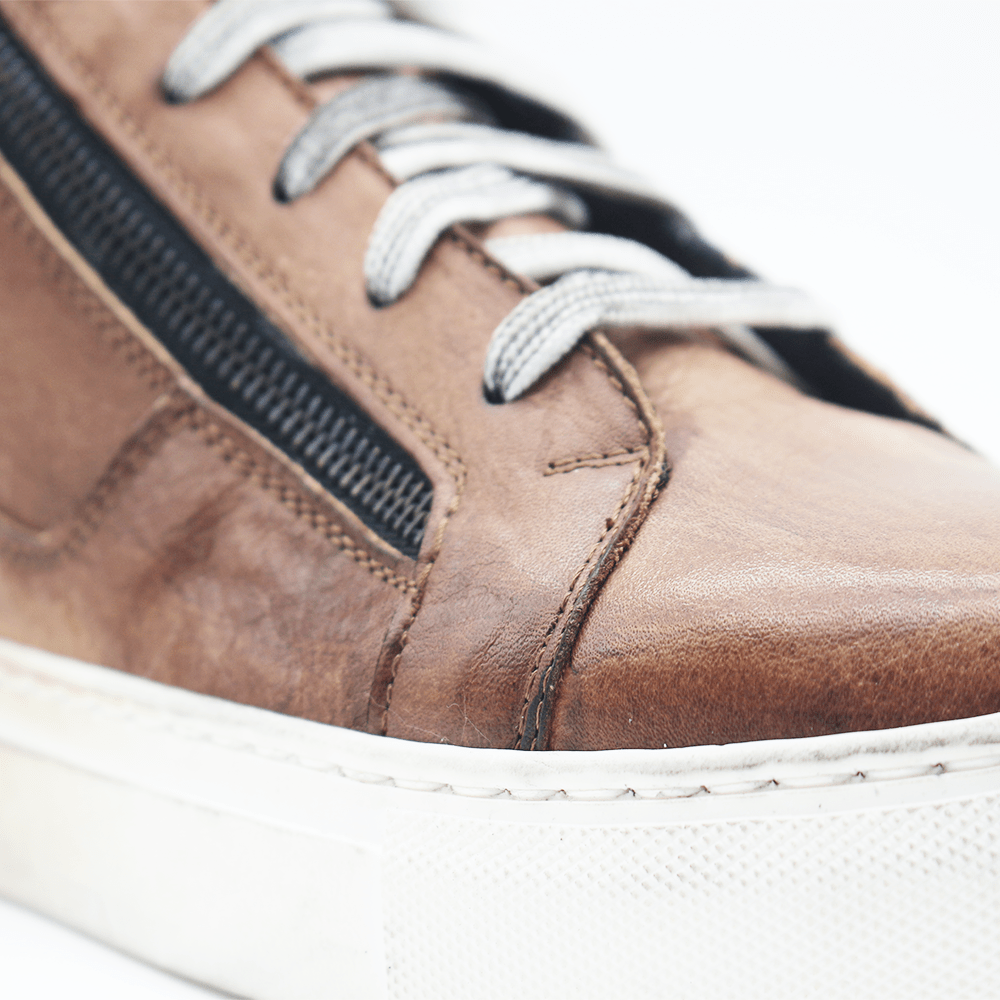 RAF80171 Brown washed sneaker+ double zip - WAYART