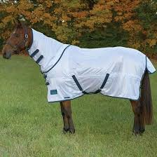 Shires Tempest Original Fly Sheet with Neck White/Turquoise 78""