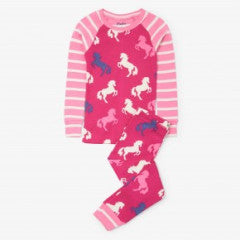 Hatley Girls Playful Horse PJ Set Raglan