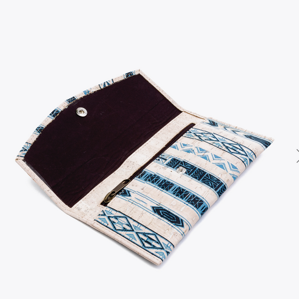 Blue/White Envelope Wallet - thistle + cork