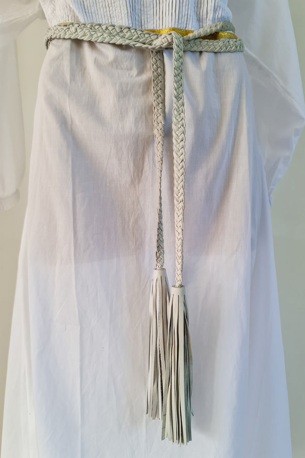 Classic White Leather Pleated Belt