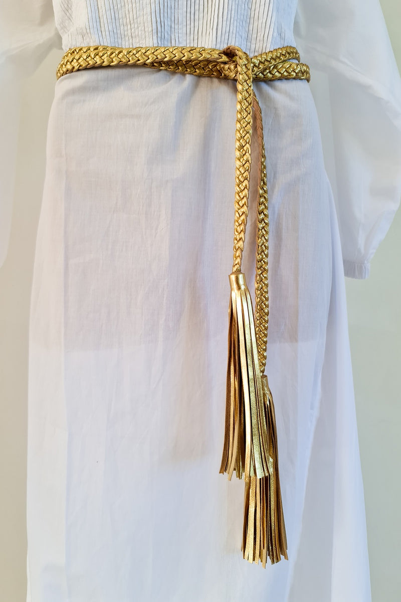 Classic Gold Leather Plaited Belt