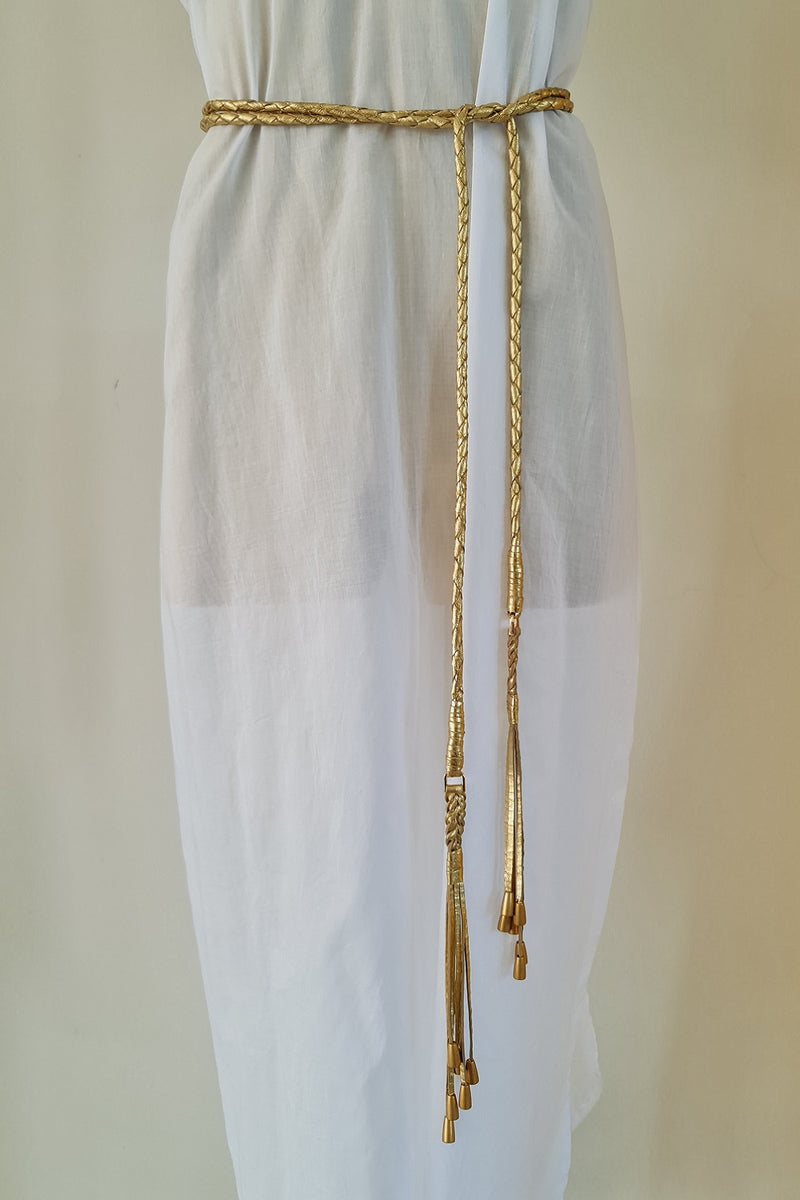 Gold Leather Cord Plaited Belt