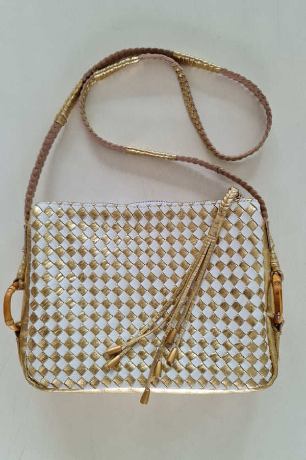 Gold Leather Plaited Medium Shoulder Bag