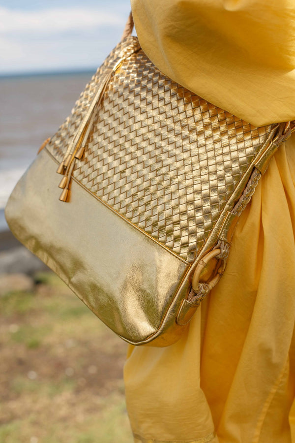 Gold Leather Plaited Large Shoulder Bag