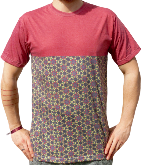 """flowers on lawn"" red t-shirt unisex"