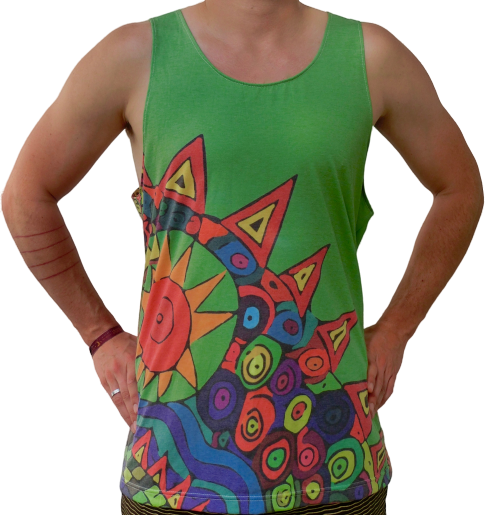 """tripping"" green tank top unisex"
