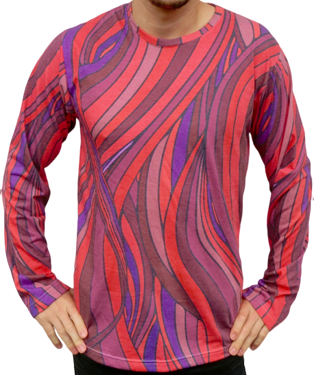 """waves"" red / purple longsleeve unisex"