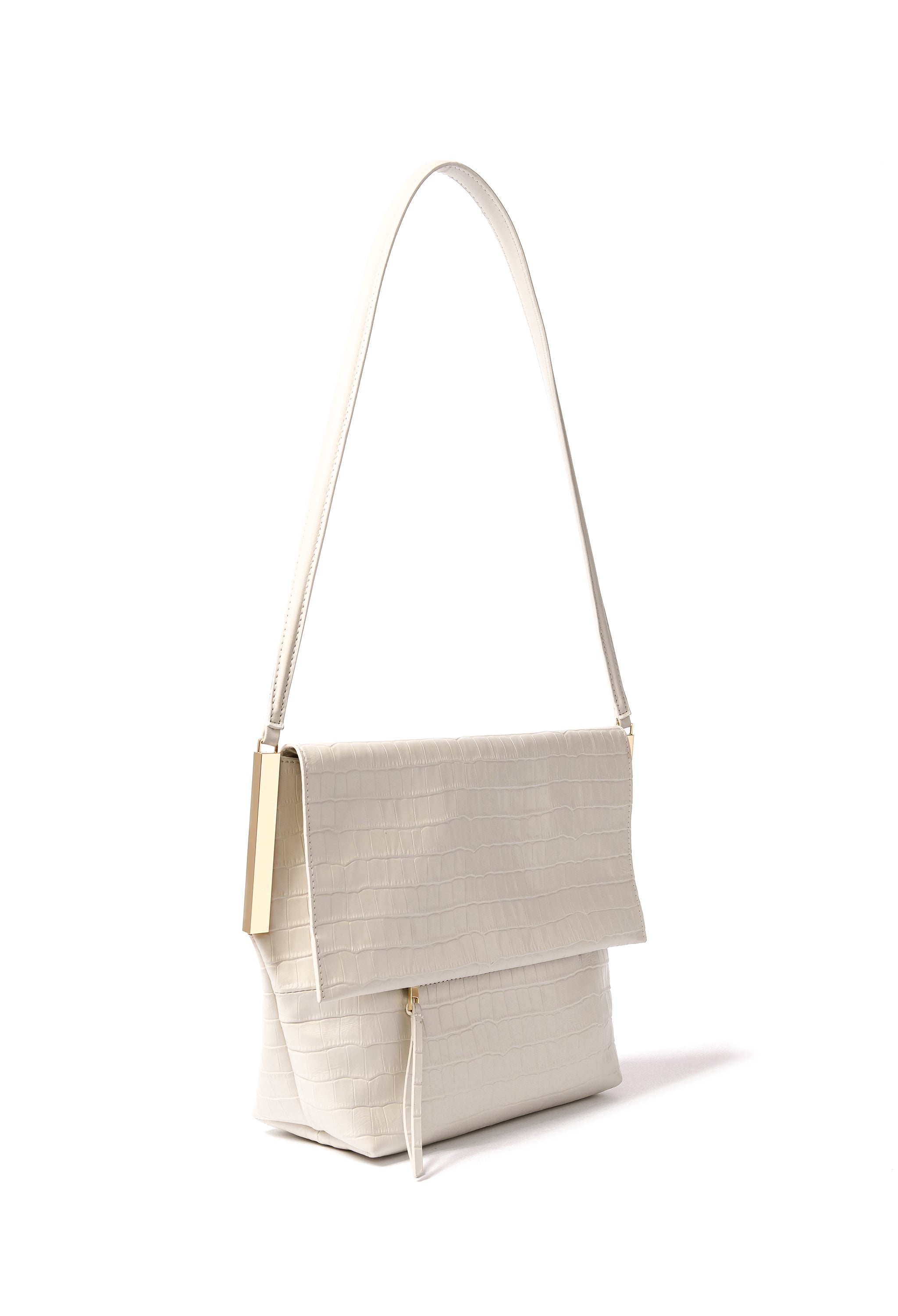 Giselle Bag in croco embossed leather, White