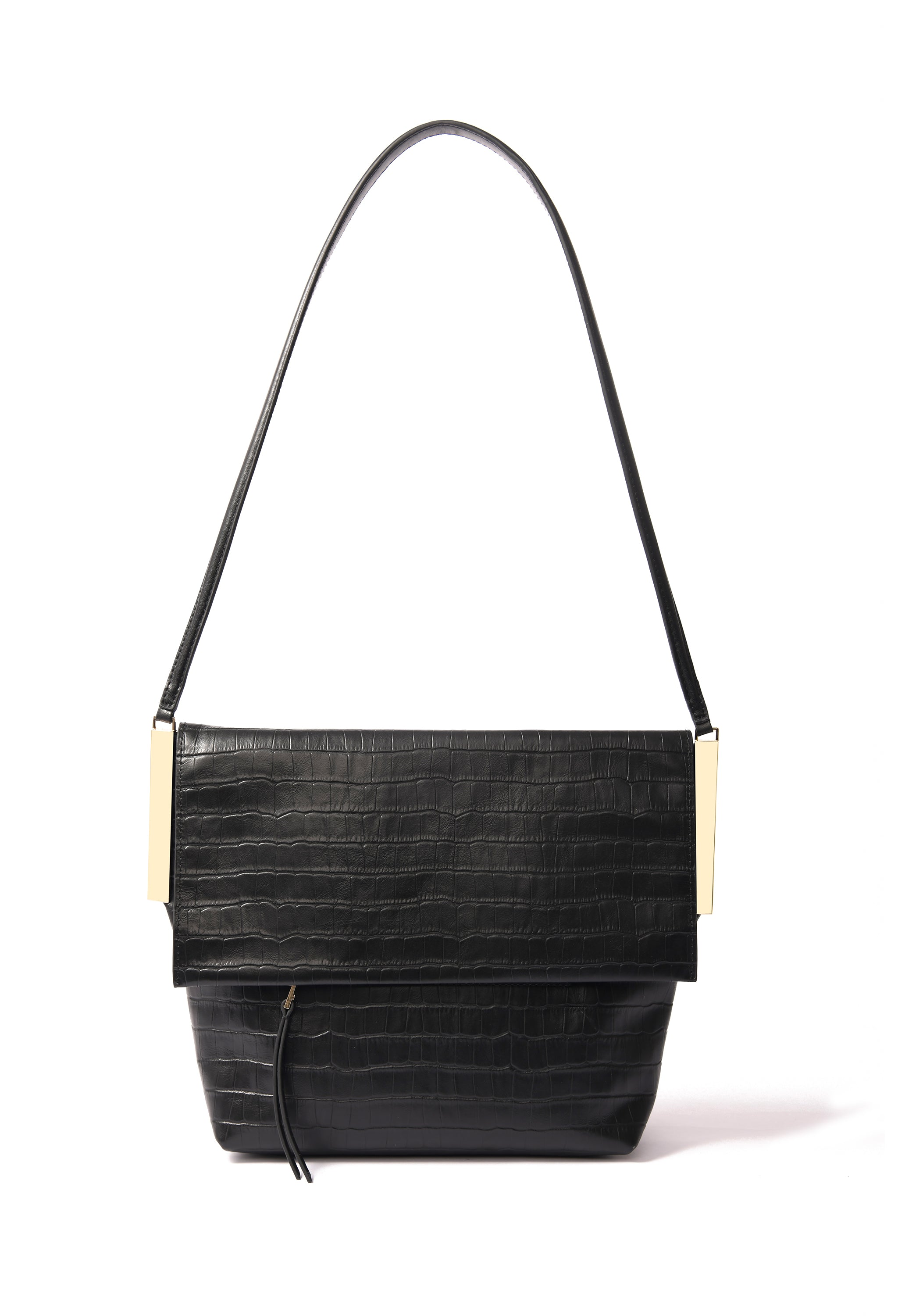 Giselle Bag in croco embossed leather, Black