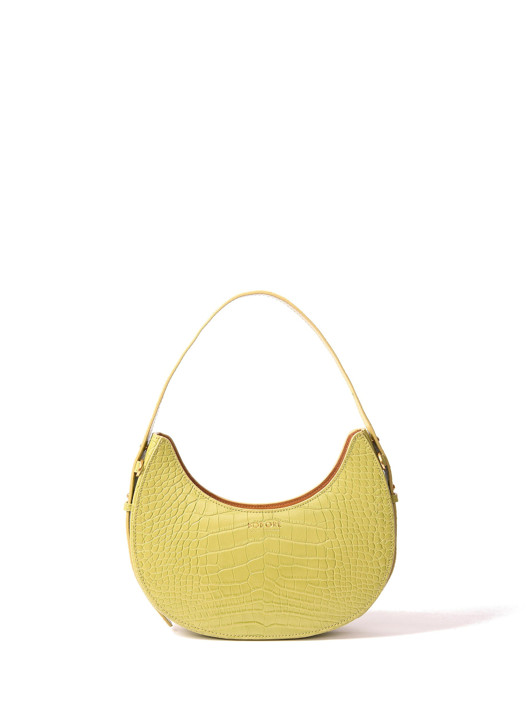 Naomi Moon Bag in croco embossed leather, Green
