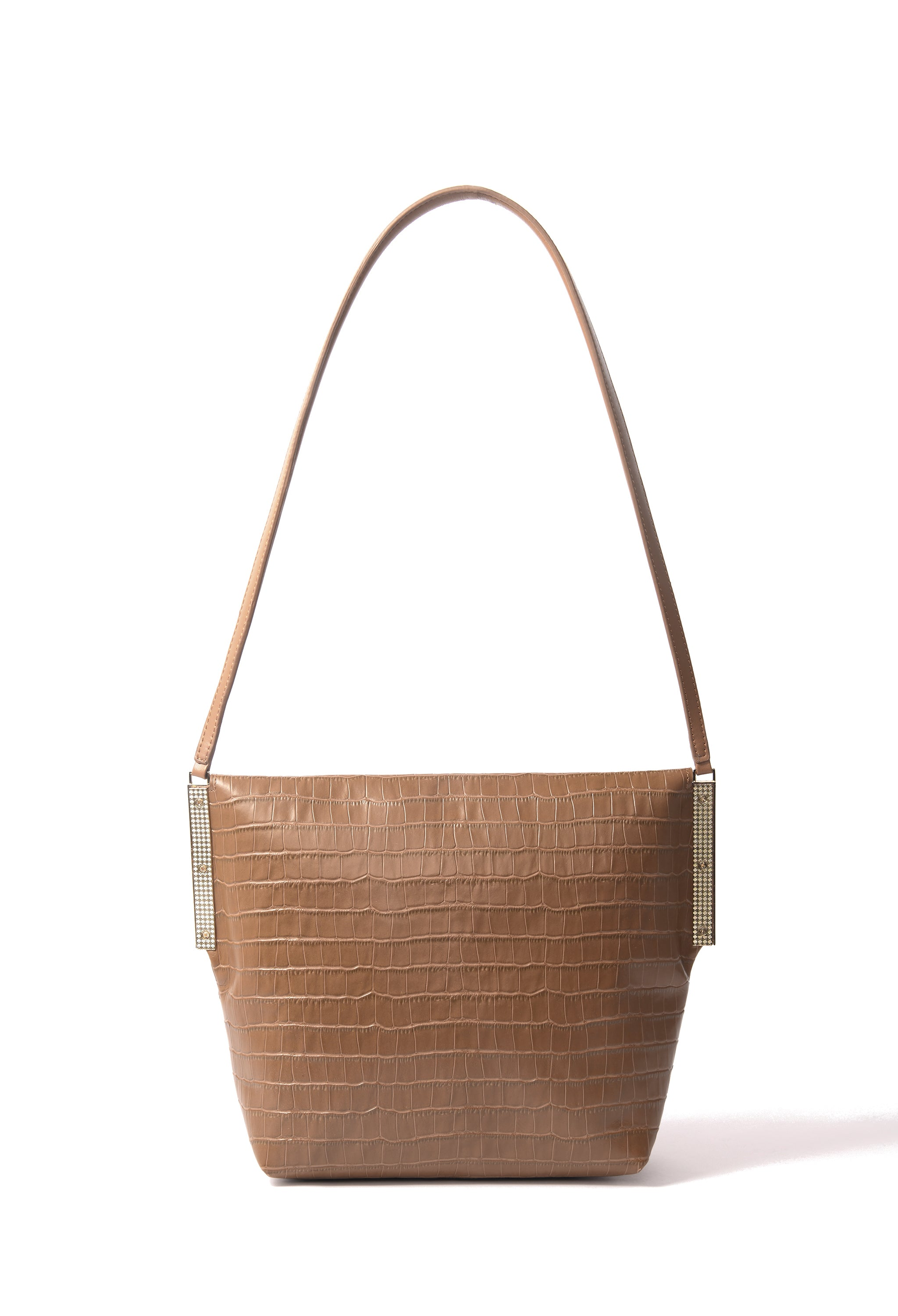 Giselle Bag in croco embossed leather, Brown