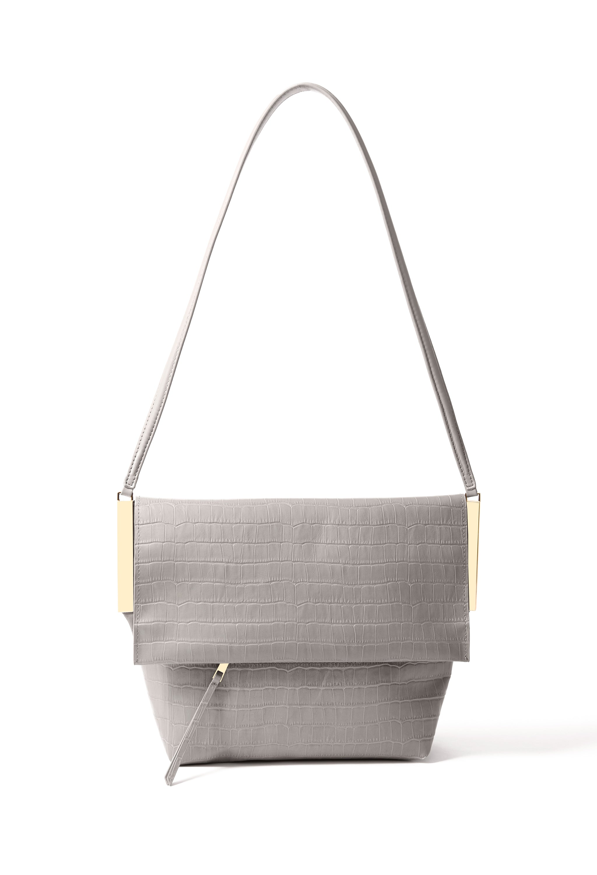 Giselle Bag in croco embossed leather, Gray