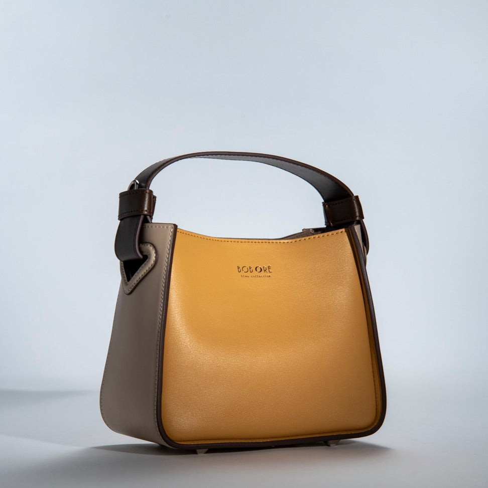 O-In Genuine leather handle bag with cotton linen bag inside-Yellow
