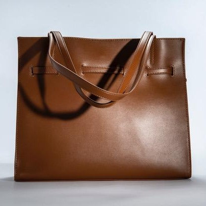 O-Free Genuine Leather Fashion Handbag Tote Bag-Brown