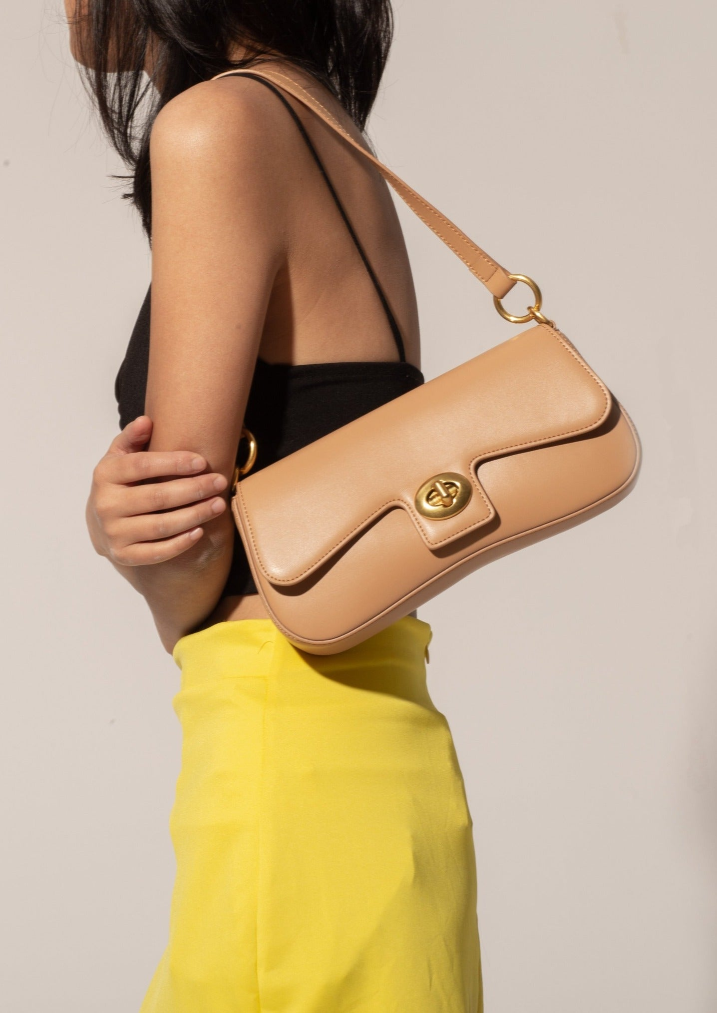 Jacqueline Bag in smooth leather, Apricot