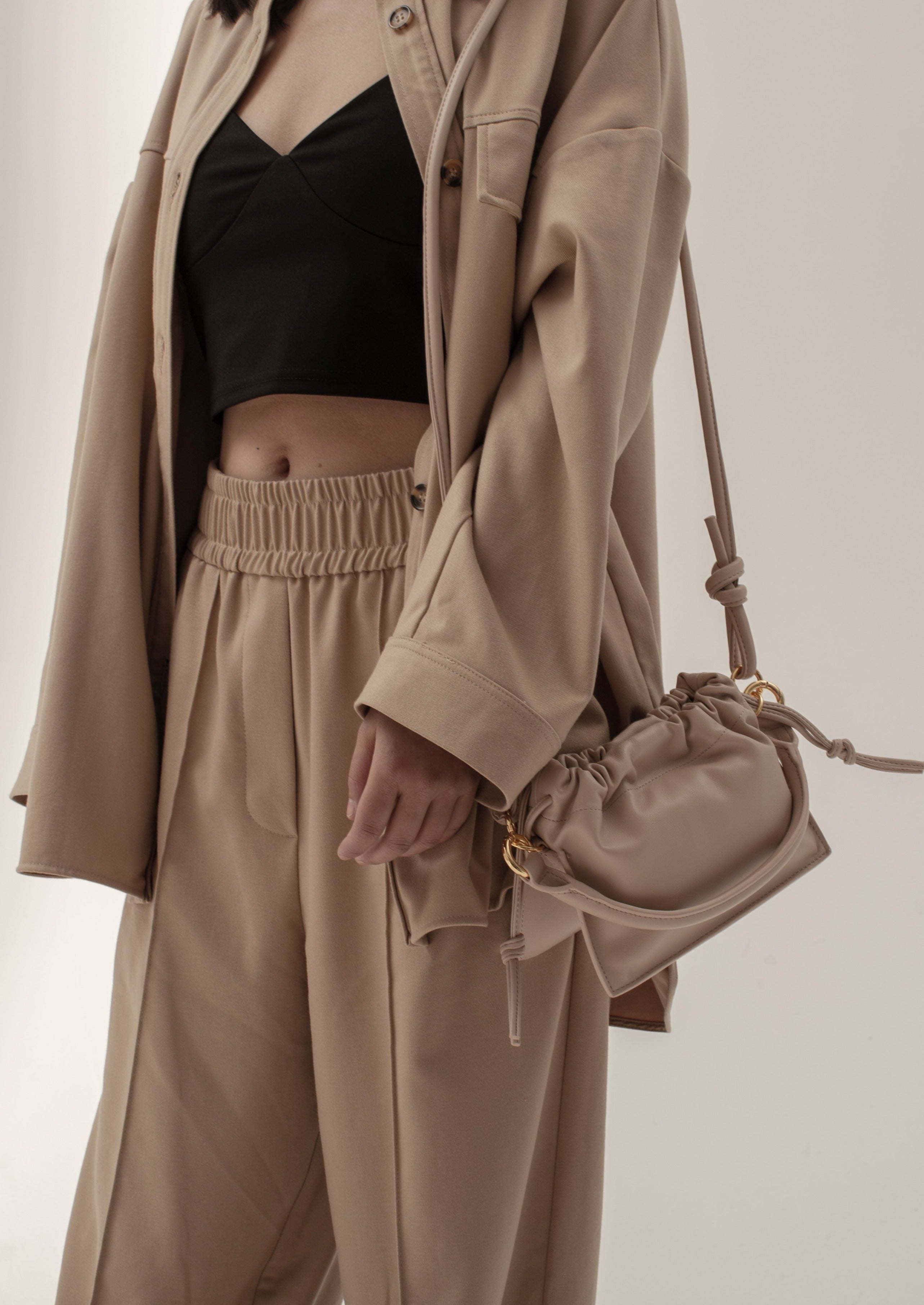 Riley Bag in smooth leather, Nude Pink