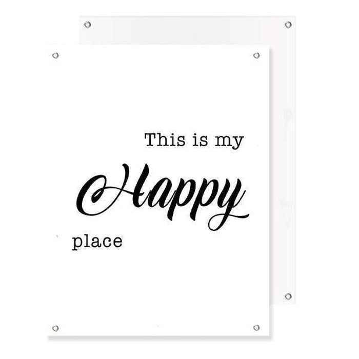 Schilderij-Happy Place (Wit)-PosterGuru