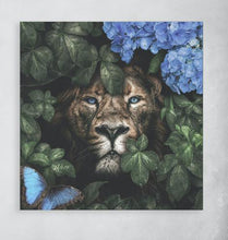 Load image into Gallery viewer, Schilderij-Lion and Lioness, Pink and Blue-PosterGuru