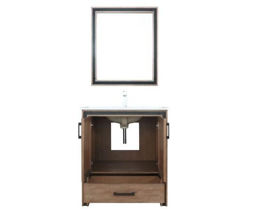 "LEXORA Ziva 30"" Rustic Barnwood Single Vanity, Cultured Marble Top, White Square Sink and 28"" Mirror"