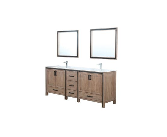 "LEXORA Ziva 84"" Rustic Barnwood Double Vanity, Cultured Marble Top, White Square Sink and 34"" Mirrors w/ Faucet"