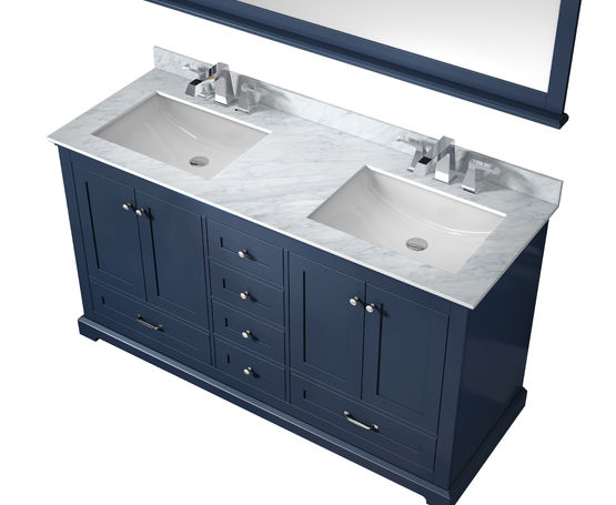 "LEXORA Dukes 60"" Navy Blue Double Vanity, White Carrara Marble Top, White Square Sinks and 58"" Mirror"