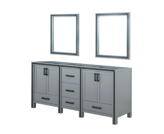 "LEXORA Ziva 72"" Rustic Barnwood Double Vanity, Cultured Marble Top, White Square Sink and 30"" Mirrors"