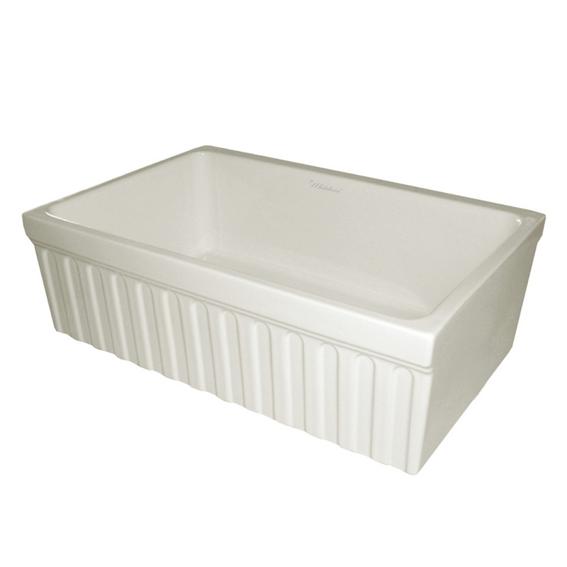 "Whitehaus Collection Farmhaus Fireclay Quatro Alcove Reversible Sink with a Fluted Front Apron and Decorative 2 1/2"" Lip on One Side and 2"" Lip on the Opposite Side"