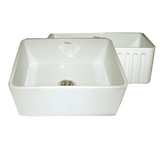 Whitehaus Collection Farmhaus Fireclay Reversible Sink with Smooth Front Apron on One Side and Fluted Front Apron on the Opposite Side