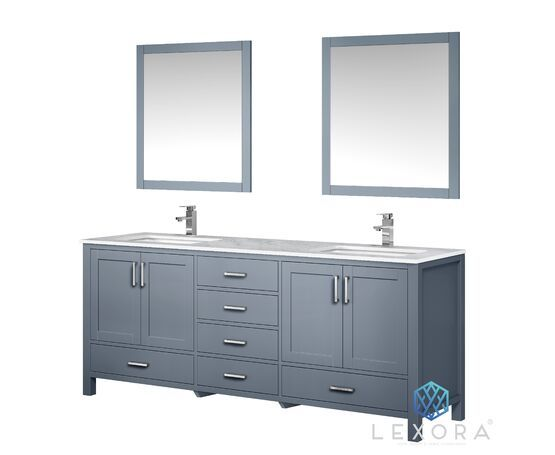 "LEXORA Jacques 80"" Distressed Grey Double Vanity, White Carrara Marble Top, White Square Sinks and 30"" Mirrors"