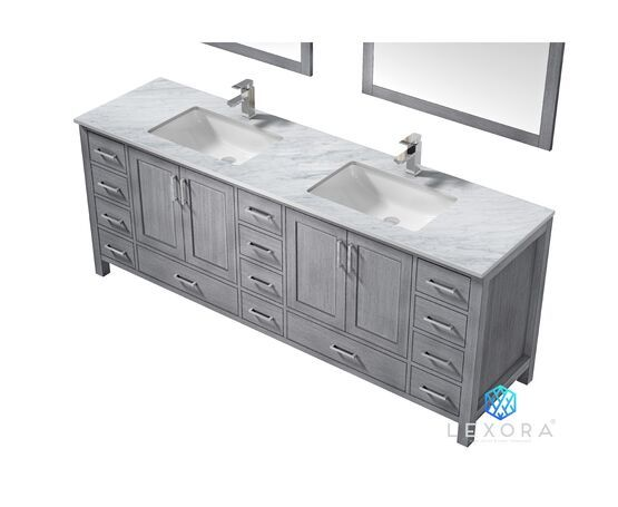 "LEXORA Jacques 84"" Distressed Grey Double Vanity, White Carrara Marble Top, White Square Sinks and 34"" Mirrors"